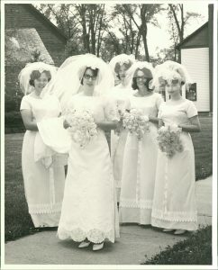 Bride and Bridesmaids Digitized - 65 Year Old Photo